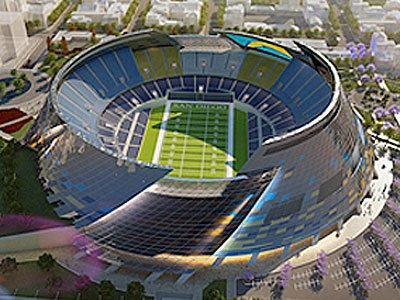 Chargers Stadium combined with Convention Space in the East Village/Ballpark District